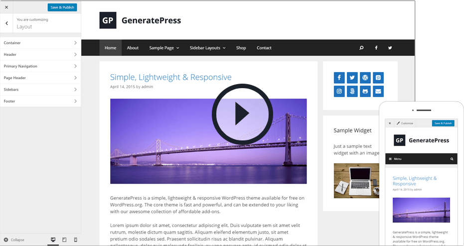 Watch the GeneratePress video