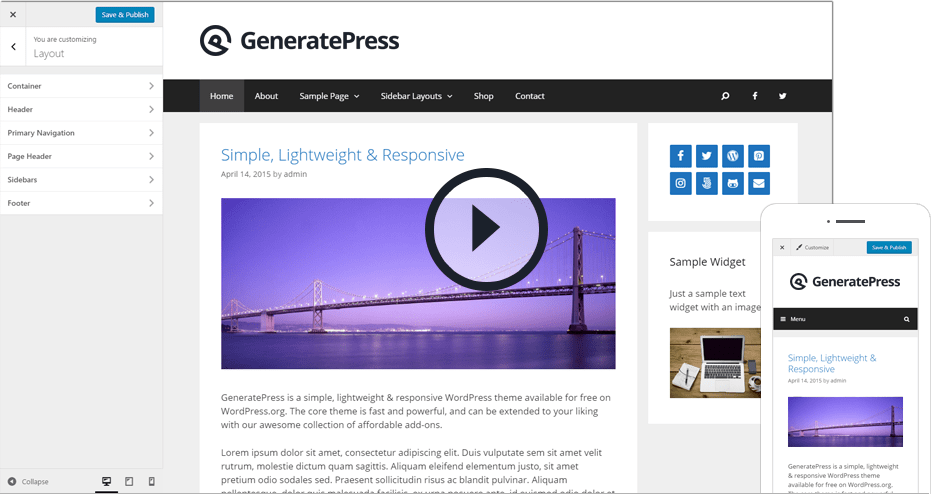 Watch the GeneratePress video