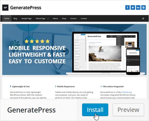 Install GeneratePress