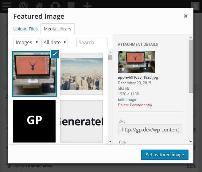 Set WordPress Featured Image