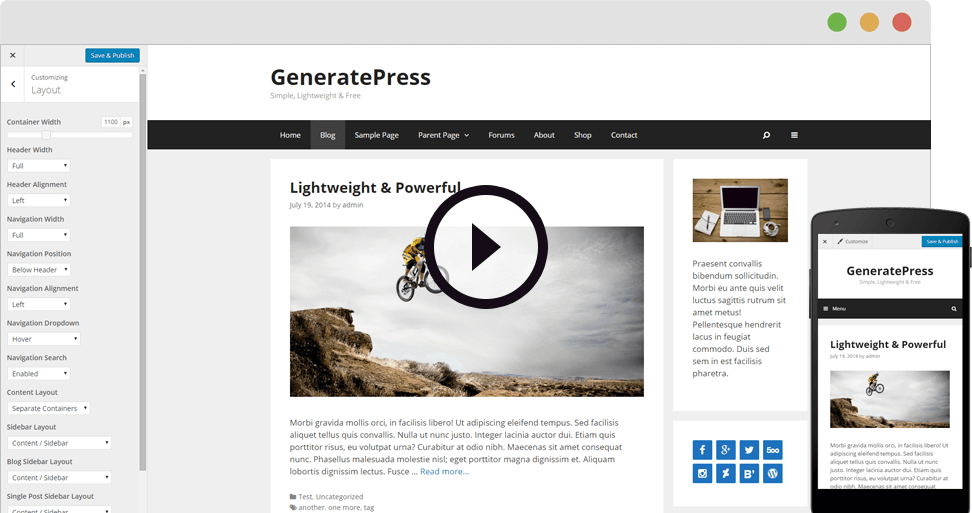Image of the GeneratePress theme on desktop and mobile responsive