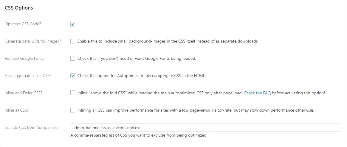 Recommended CSS options