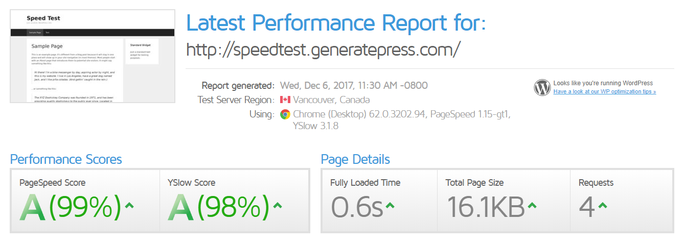 GT Metrix speed test